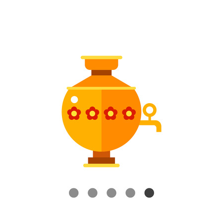 boiling water: Multicolored vector icon of samovar, special kettle for boiling water for tea in Russia