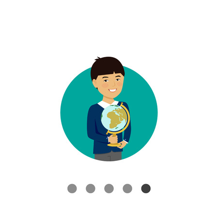 schoolboy: Male character, portrait of smiling Asian schoolboy holding globe