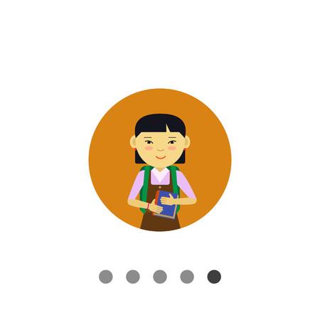 Female character, portrait of smiling Asian schoolgirl holding book