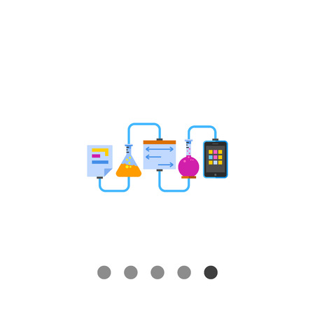 metodo cientifico: Multicolored vector icon of laboratory experiment with chemical reaction and science data in paper sheet and mobile phone screen