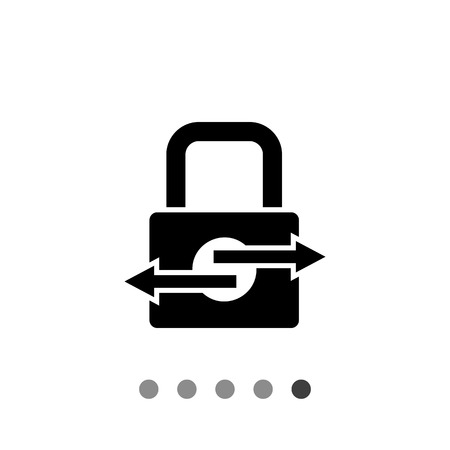 transactions: Padlock with arrows. Secure transactions, security, protection, process. Secure transaction concept. Can be used for topics like security, Internet, finance, banking Illustration