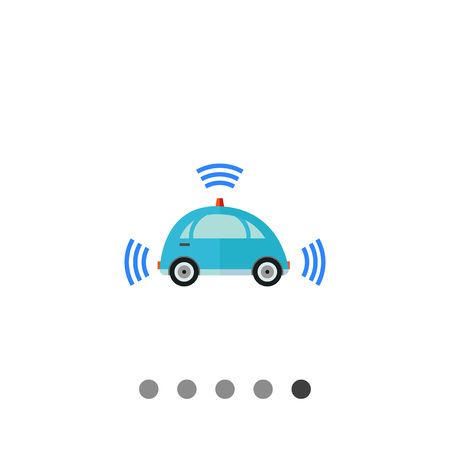 Multicolored flat icon of blue self-driving car with signal signs