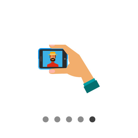 smartphone in hand: Selfie smartphone icon. Multicolored vector illustration of hand with smartphone taking self-portrait