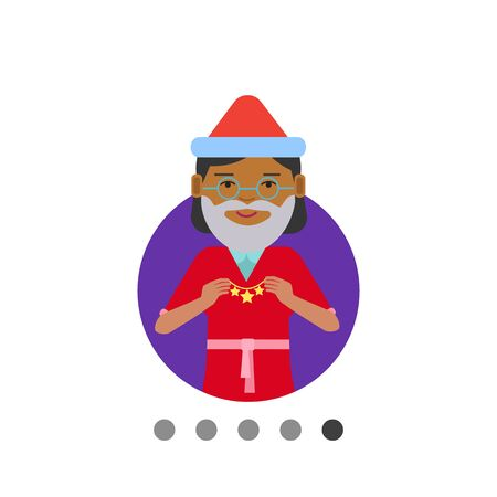 gray hair: Female character, portrait of African American woman wearing Santa costume, holding Christmas ornament