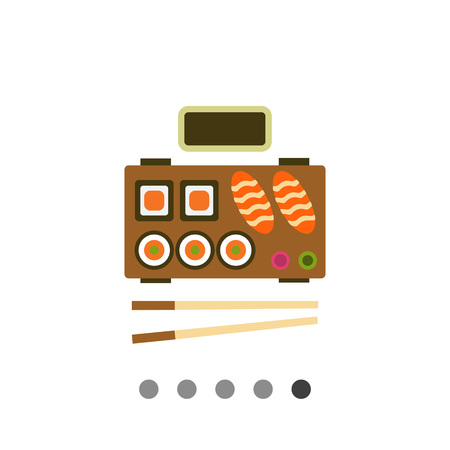 chopsticks: Vector icon of served traditional Japanese sushi with chopsticks