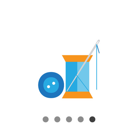 dressmaking: Icon of sewing spool of blue thread, needle and blue button Illustration