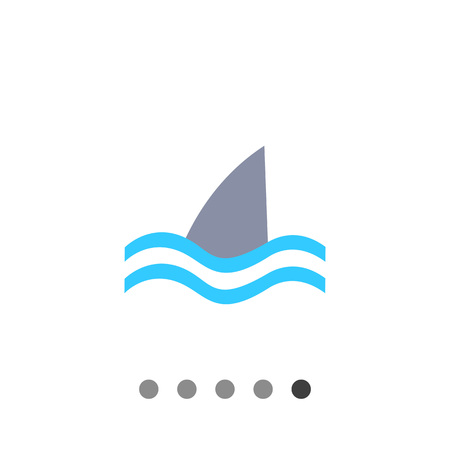 fin: Icon of swimming shark fin above water Illustration