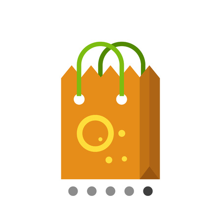 handles: Multicolored vector icon of brown paper shopping bag with green handles Illustration