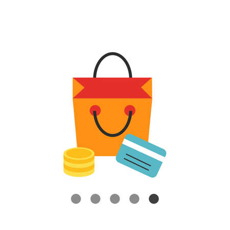Icon of shopping bag, coin stack and credit card