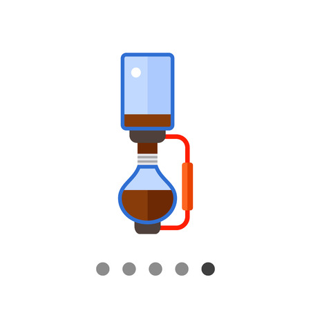 Icon of siphon vacuum coffee maker made of two glass retorts Illustration
