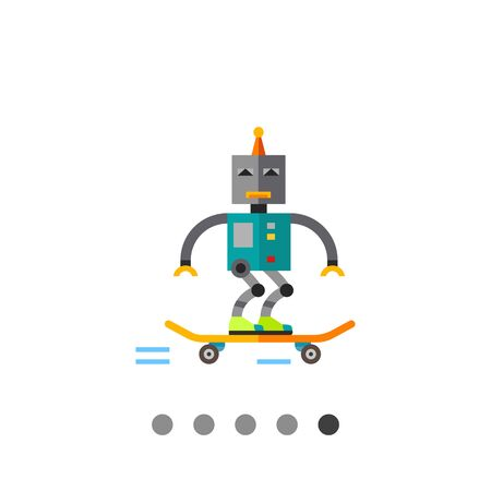 funny robot: Skater robot skating. Funny, futuristic, intelligence. Robot concept. Can be used for topics like technology, electronics, mechanics.