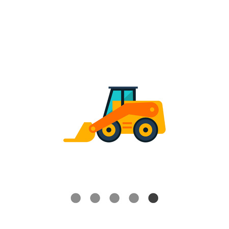 Multicolored vector icon of yellow forklift truck Multicolored vector icon of yellow skid loader Illustration