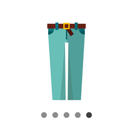 buckle: Multicolored vector icon of skinny jeans with brown belt and buckle