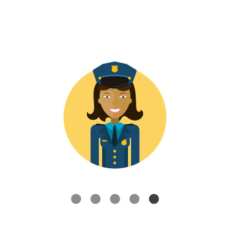 femme policier: Female character, portrait of young Asian smiling policewoman Illustration
