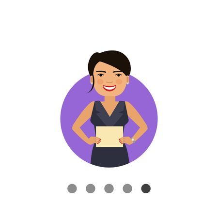 Female character, portrait of smiling woman holding blank paper sheet