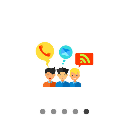 web feed: Multicolored vector icon of three young men with telephone, mail and web feed symbols in bubbles representing social media Illustration