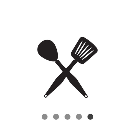 Icon of crossed spoon and turner Illustration