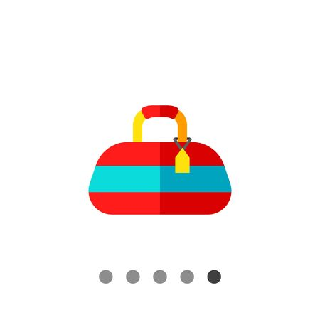 comfortable: Multicolored flat icon of red sport bag with blue strip and yellow label