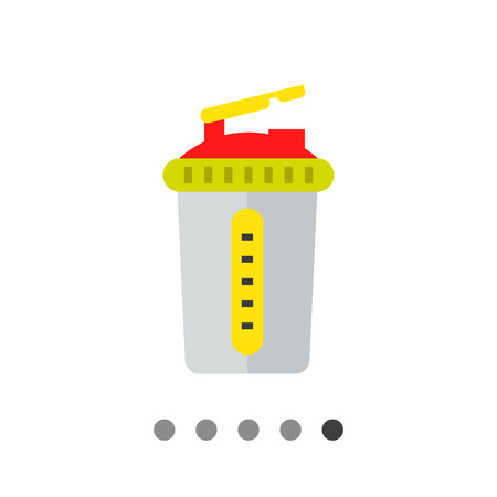 Multicolored flat icon of grey sport shaker with lid Illustration