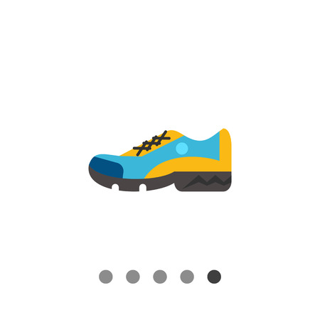Multicolored flat icon of one blue and yellow sport shoe