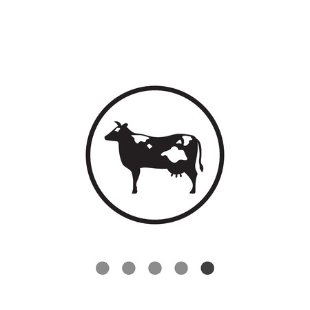 udder: Vector icon of cow silhouette in circle