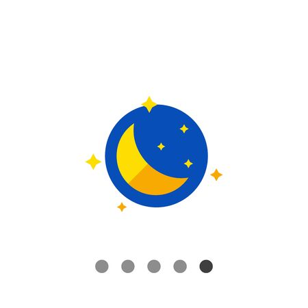Multicolored vector icon of night with moon and stars
