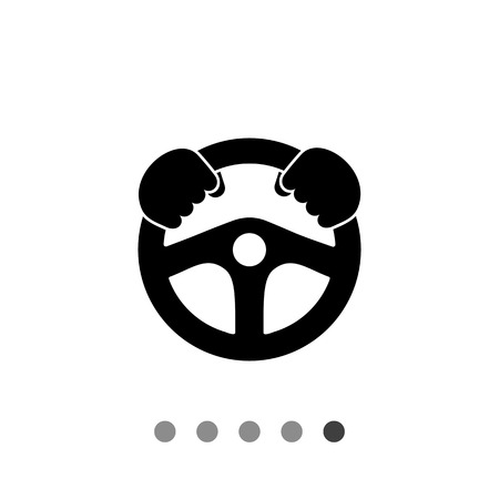 Monochrome vector icon of automobile steering wheel with man hands on it