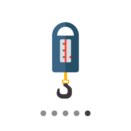 spring balance: Multicolored vector icon of blue steelyard balance with metal hook