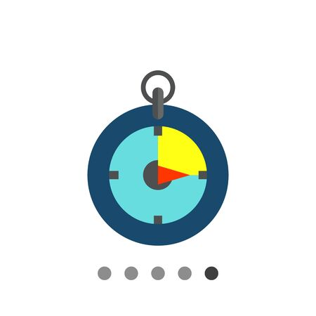 stop watch: Multicolored vector icon of stop watch isolated on white