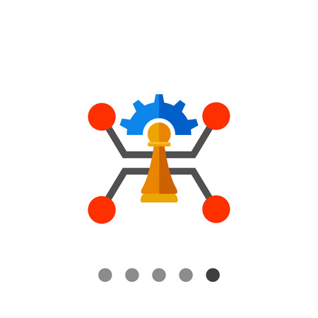 implementation: Pawn and gear with chip element in background. Process, plan, implementation. Strategic management concept. Can be used for topics like business, management, planning, analysis. Illustration