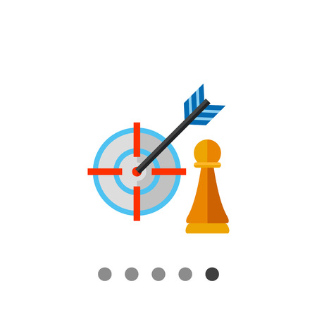 focus concept: Pawn and arrow in center of target. Hitting, success, perfect. Strategy focus concept. Can be used for topics like business, management, planning, marketing. Illustration