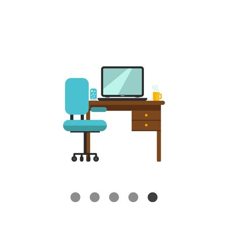 lava lamp: Icon of study interior including chair, desk with laptop, lamp and hot drink cup