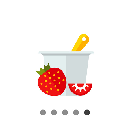 fiambres: icono de vectores multicolor de helado de fresa en plato con la cuchara