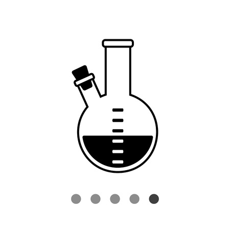 reagent: Monochrome vector icon of purple substance in flask with two necks, one of them plugged with corks Illustration