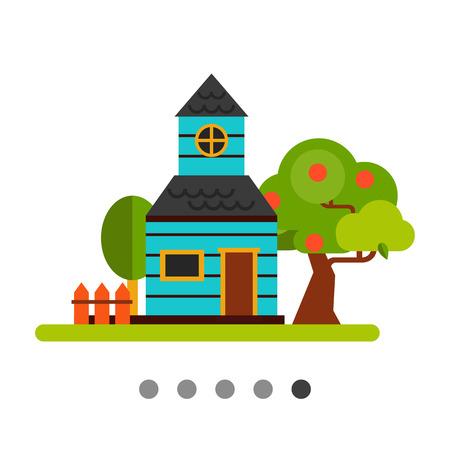 Cottage di estate icona piatta. Multicolore illustrazione vettoriale di casa con giardino e frutteto nella stagione estiva