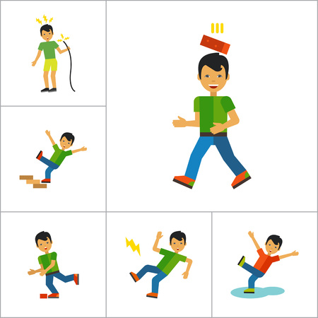 Accident Icon Set. Falling From Chair Falling Down Stairs Boy Slipping Stumbling Falling Boy With Broken Arm Man With Broken Leg Drowning Man Brick Falling On Man Electrical Shock Man In Wheelchair