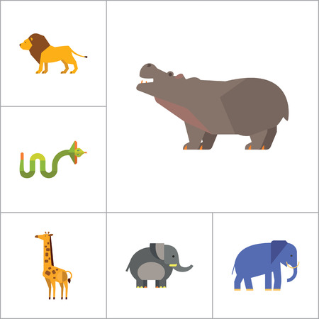 elephant angry: African Animals Icon Set. Paw Trace Zebra Lion Rhinoceros Cobra Hippopotamus Big Elephant Ox Giraffe Fat Elephant Crying Hippo Angry Cobra Young Giraffe Illustration