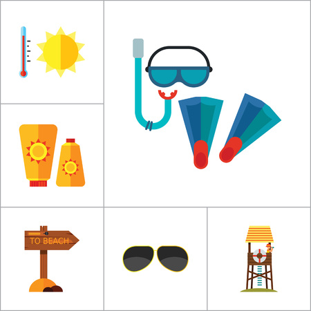 diving board: Beach Icon Set. Sun In Sunglasses Swimming Surf Board Bus Sun Umbrella Sunblock Cream Cocktails Sand Castle Aloha Shirt Lifeguard Tower Sunglasses Pointer To Beach Flippers And Diving Mask Summer Heat Illustration