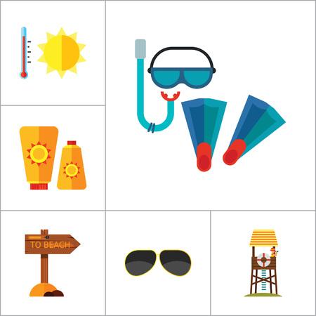 Beach Icon Set. Sun In Sunglasses Swimming Surf Board Bus Sun Umbrella Sunblock Cream Cocktails Sand Castle Aloha Shirt Lifeguard Tower Sunglasses Pointer To Beach Flippers And Diving Mask Summer Heat Illustration