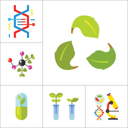 modified: Biology Icon Set. Cell Structure Flask Test Tube Products On Scales Heating Test Tube Human Genome Molecule Genetically Modified Plants DNA Herbal Capsule Chemical Experiment Creative Recycling Sign