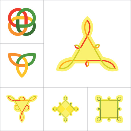 auspicious element: Celtic Ornament Icon Set. Infinite Knot Endless Knot Eternal Knot Buddhist Symbol Decorative Knot Ornament Celtic Knot Celtic Symbol Celtic Element Celtic Sign Triqueta Celtic Shield Quaternary Knot