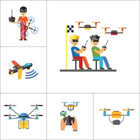 usb port: Drones Icon Set. Drone Technology Drone Surveillance Drone Racing Delivery Drone USB Cable Drone Control Drone Camera Military Drone Man With Drone USB Port Illustration