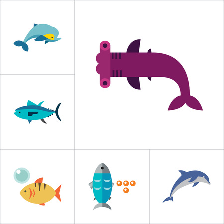 pez martillo: Fish Icon Set. Pieces Octopus Dolphin Shark Catfish Canned Fish Tuna Fish Shoal Caviar Hammerhead Fish Sea Skate Goldfish