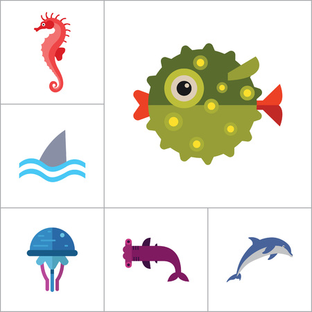 Fish icons set with dolphin, shark and seahorse. Thirteen vector icons