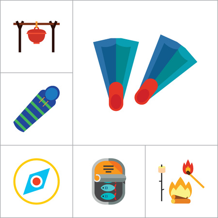foldable: Fishing Icon Set. Summer Fishing Canned Fish Flippers Diving Mask And Snorkel Beach Camping Tent Campfire Fishing Rod Sleeping Bag Pocket Knife Compass Camping Pot