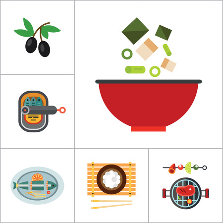 served: Food Icon Set. Olives Open Can With Sardines Watermelon Avocado Sushi Set Miso Soup Pasta Paella Served Fish Jam Jars Barbecue Rice