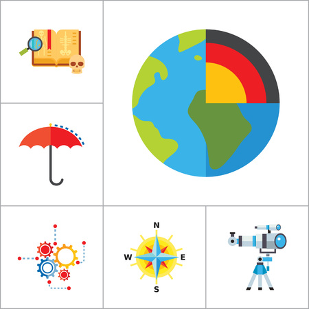 geology: Science Type Icon Set. Archeology Astronomy Cartography Engineering Geography Geology Meteorology Paleontology Statistics Geometry Anatomy History Psychology
