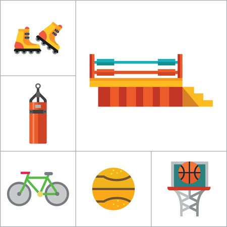 thirteen: Sport icons set with bicycle, scoreboard and barbell. Thirteen vector icons Illustration