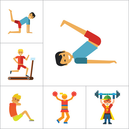 thirteen: Sportsman vector icons set. Thirteen icons of running man, rock climber, bodybuilder and other sportsmen Illustration
