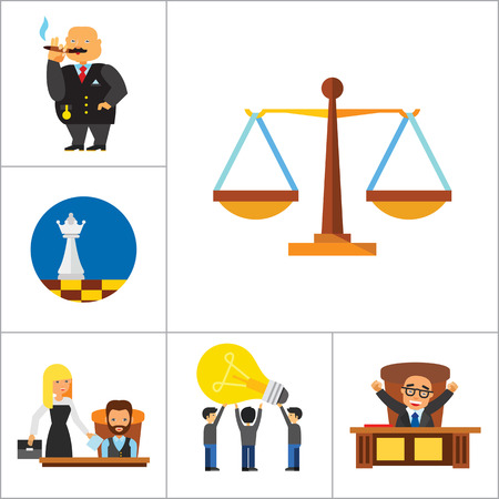 Strategy Icon Set. Team Structure Common Idea Director Executive Manager Rich Person Team Time Management Challenge Boss Scales Strategic Management Vision Team Leader Illustration
